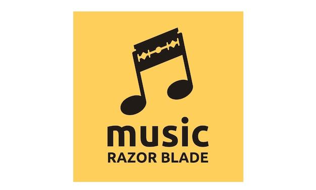 音楽ノートと剃刀ブレードのロゴデザインのインスピレーション