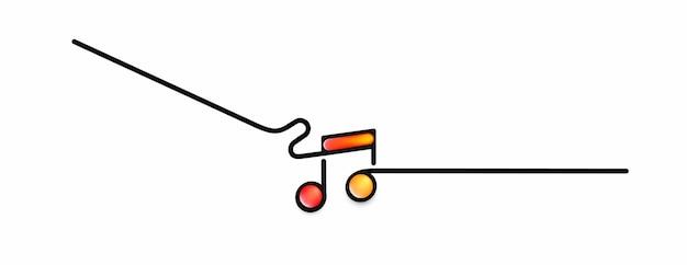 音符バナーデザイン、フラットラインアートベクトルイラスト。