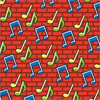 Music notes doodle pattern