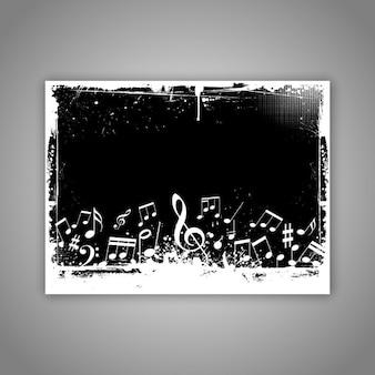 Music notes on grunge background