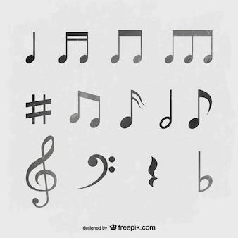 회색 톤의 음악 노트