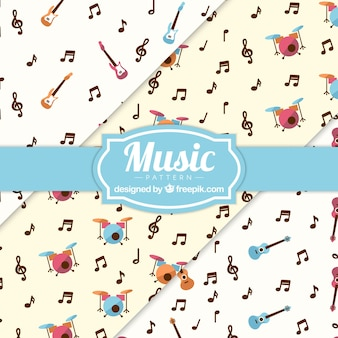 Music notes and instruments pattern background