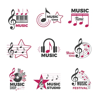 Music notes logo. badges with song and sound symbols audio podcast radio logos  collection