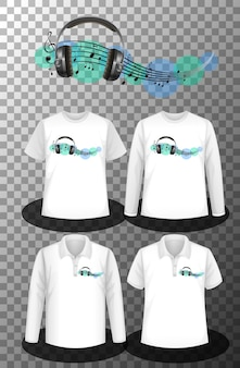 Music notes logo with set of different shirts with music notes logo screen on shirts