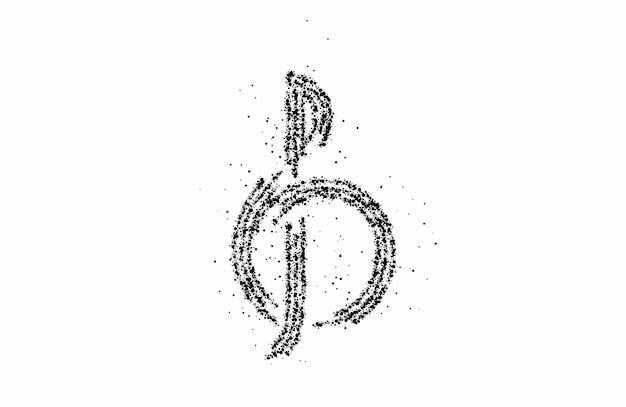 Музыка отмечает значок дизайн частиц, векторные иллюстрации