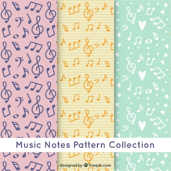 Music notes pattern collection