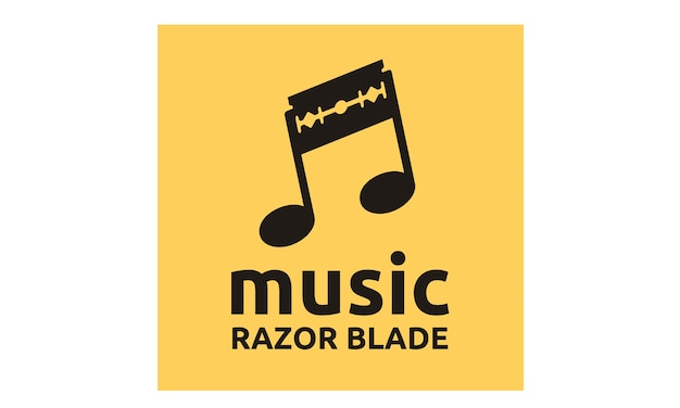Music notes and razor blade logo design inspiration