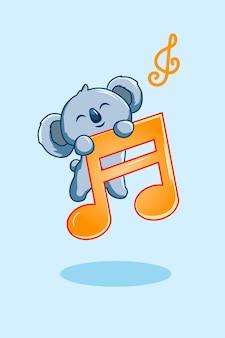 Музыкальные ноты с милой коалой значок иллюстрации шаржа