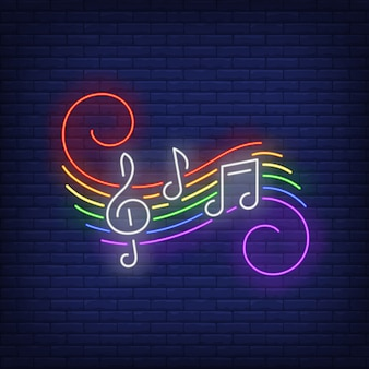 Music notes with lgbt colors neon sign