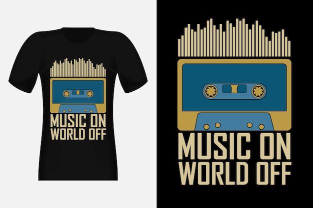ミュージックオンワールドオフオールドミュージックシルエットヴィンテージtシャツデザイン