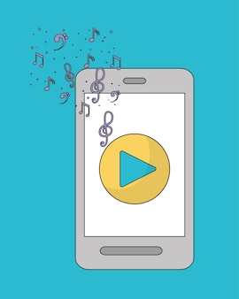 Music online represented by smartphone and play icon