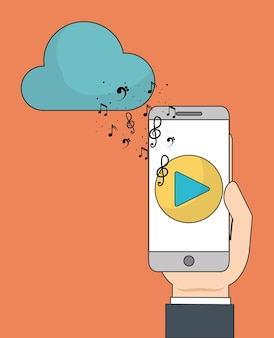 Music online represented by smartphone
