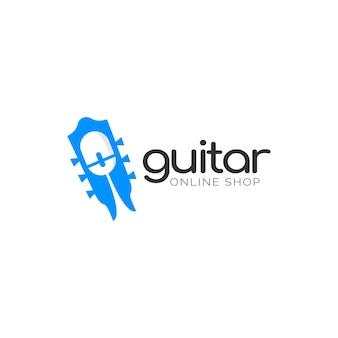 Music online shop logo design concept illustrations of guitar