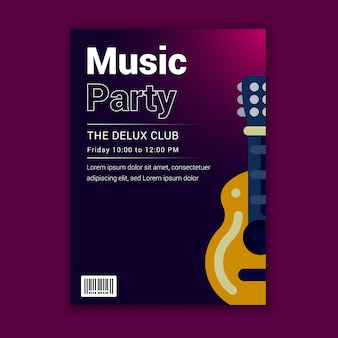 Music party club invitation flyer with a guitar design