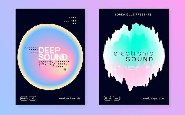 ミュージックパーティー。クールなサウンドポスター。プレゼンテーションテンプレートのクリエイティブパターン。ディスコと展示会のベクトル。パンフレットの波の効果。黒とターコイズの音楽パーティー