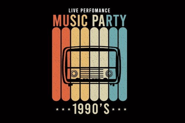 Music party design silhouette retro style