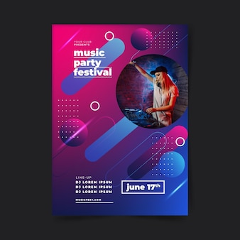 Music party festival poster template 3d shapes