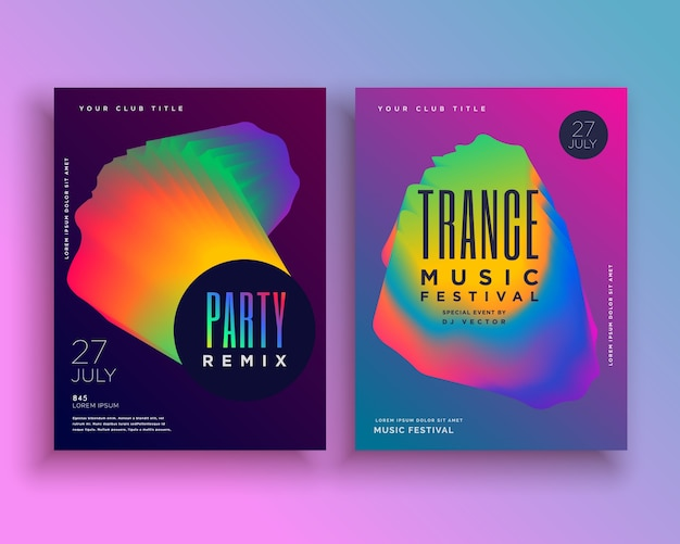 Music party flyer template design with vibrant abstract shape
