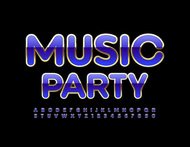 Music party gold and purple trendy font shiny alphabet letters and numbers set