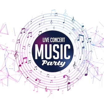 Music party live concert template with notes