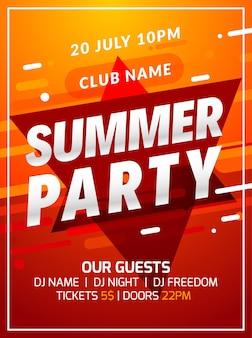 Музыкальная вечеринка плакат фоновый цвет абстрактный градиент флаер дизайн. 3d шаблон современного летнего танцевального клуба.