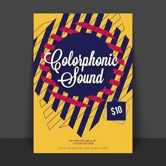 Poster di poster, banner o flyer di musica, con sfondo astratto creativo.
