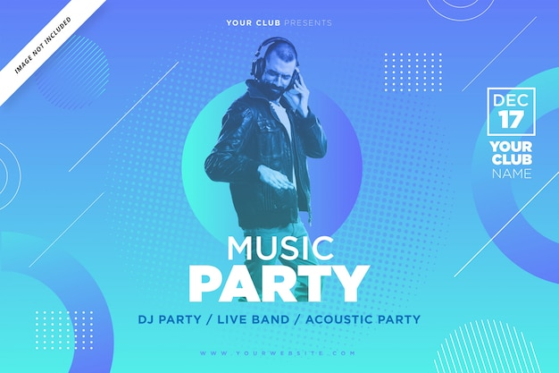 Music party poster template in blue color