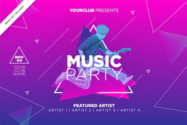 Music party  poster template in purple color