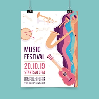 Music party poster template with musical instrument