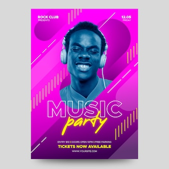 Music party poster with photo