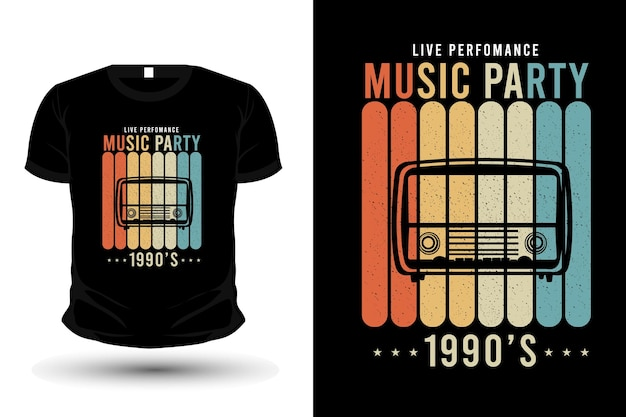 Music party t shirt design silhouette retro style
