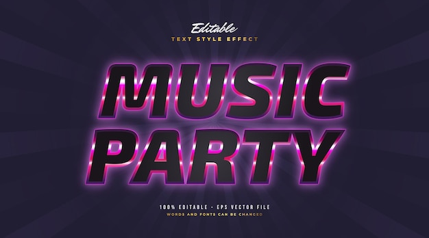 Music party text in black and purple with glowing neon effect. editable text style effect