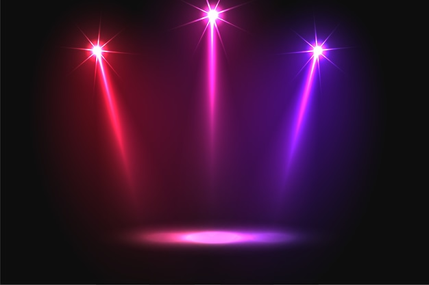 Music party three vibrant falling focus light background