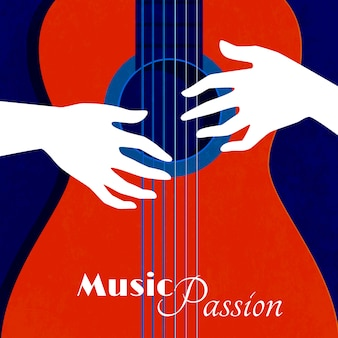 Music passion poster with red guitar silhouette on blue background and male hands on strings flat vector illustration