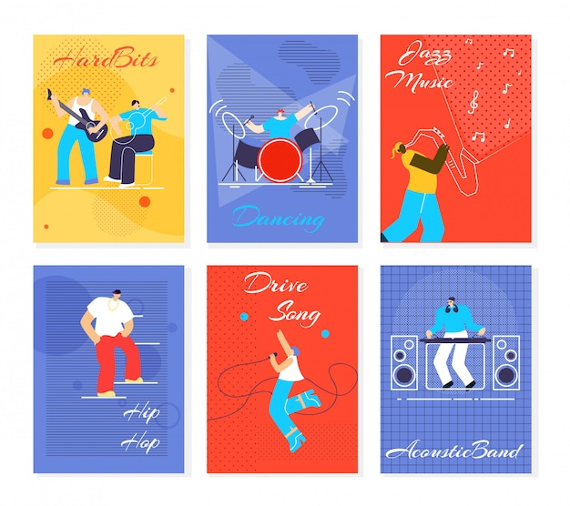 Music people fest cards flat vector illustration