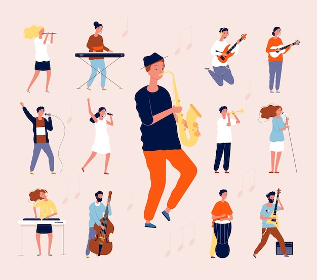 Музыкальные личности. рок классической музыки исполнители музыкантов поют и играют на инструментах оркестра гитара барабан скрипка квартира. музыкальный концерт иллюстрации, музыкант с гитарным инструментом