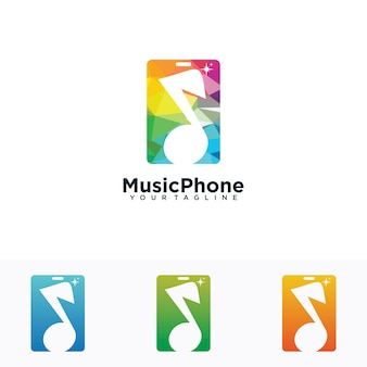 Music phone logo with music symbol and phone combination illustration