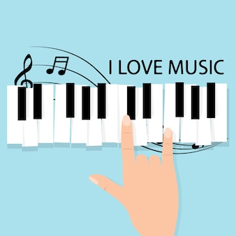 Music piano keyboard with notes. poster background template
