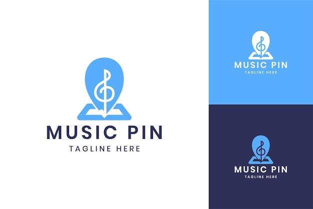 Music pin negative space logo design