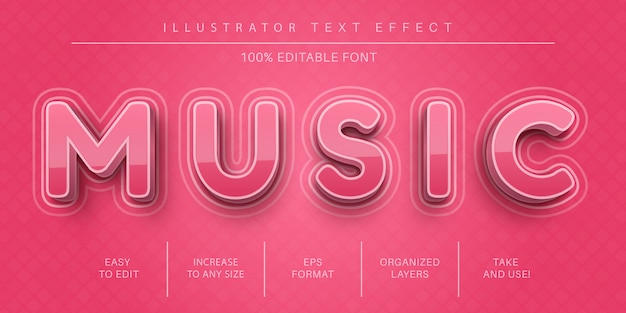 Music pink text style, font effect