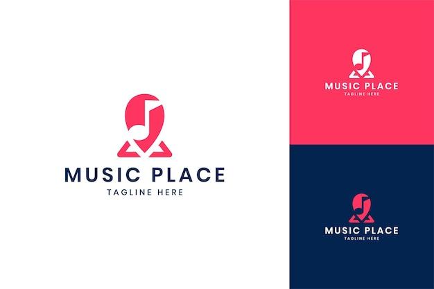 Music place negative space logo design