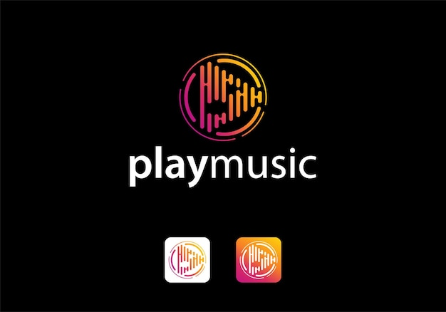Music play button icon logo design template inspiration