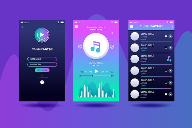 Music player app interface concept