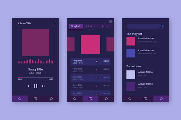 Music player app interface design