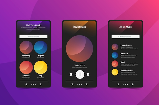 Music player app interface on mobile phone