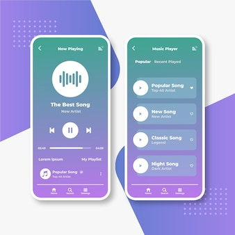 Music player app interface set