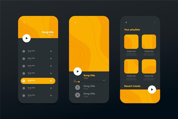 Music player app interface template collection