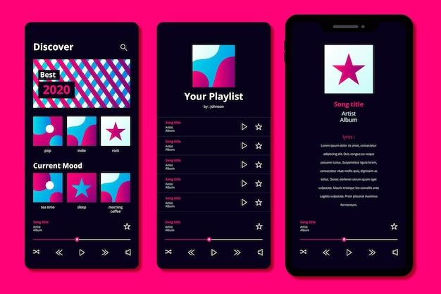 Pacchetto modello di interfaccia app lettore musicale