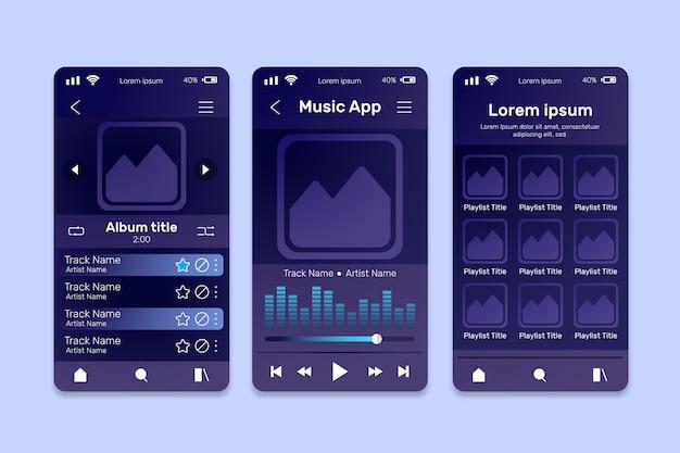 Insieme di modelli di interfaccia app lettore musicale