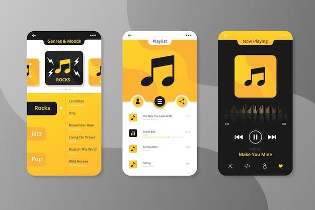 Music player app interface